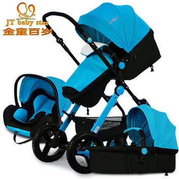 EU 3 in 1 baby strollers 0-4 years old newborn  use baby bassinet  car seast stroller together 3 pieces