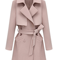 Pink Double-breasted Trench Coat