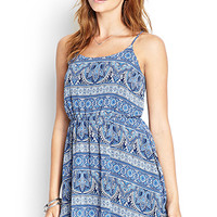 FOREVER 21 Paisley Print Cami Dress Blue/Cream