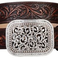 Ariat Brown Rhinestone Fillagree Ladies Belt 10006957