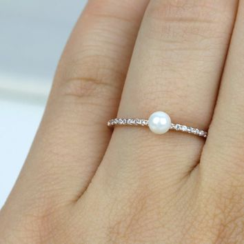 Thin Pearl Ring/Sterling Silver CZ Stackable Half Eternity Ring/Rose Gold Ring/Simple Ring