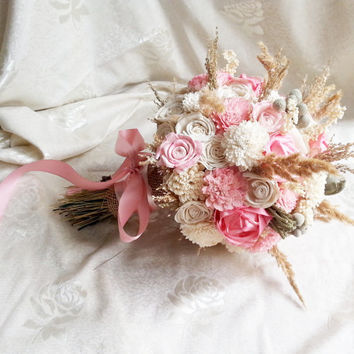 Cream brown pink rustic BOHO wedding BOUQUET natural Ivory sola Flowers, hand dyed pink, brunia berry, sorgo, grass, burlap, autumn