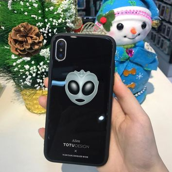 Emoji Tempered Glass Back Cover For iPhoneX w/ Pop Stand Holder