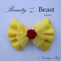 beauty and the beast mini hair bow by abowtiqueshop on Etsy