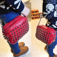 Lady Rivet Single Shoulder Bag Clutch Small Tote Motorcycle Style Red Cool