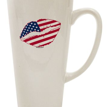 American Flag Lipstick 16 Ounce Conical Latte Coffee Mug by TooLoud