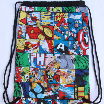 Child's Drawstring Backpack, Marvel Avengers, Fully Lined Drawstring Backpack, Hulk, Thor, Captain America, IronMan