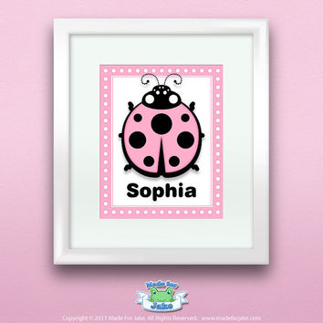 Personalized Pink Ladybug Print, Customize with Name, Wall Art Decor for Nursery or Kids Room, 8x10