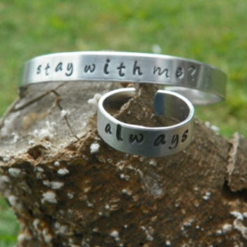 The Hunger Games Bracelet and Ring set - Stay With Me, Always.