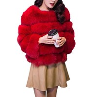 Winter Warm coat Faux Fur Women's Jacket New Fashion Thicken Faux Fur Vest Outwear Clothes Plus