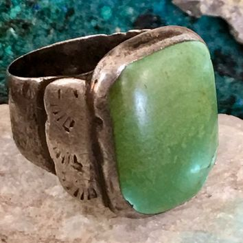 Smooth-Worn Early Navajo Ring with Natural Turquoise