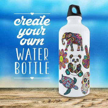Create-your-own Water Bottle Sticker Kit - Aluminum Bottle Vinyl Sticker Decal Cute Sport Customized Elephant Mandala Run Sugar Skull Hamsa