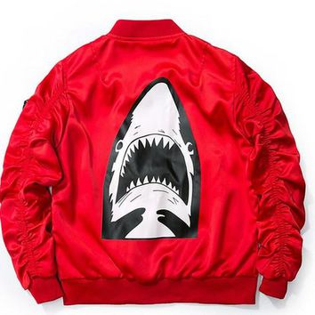 newest kanye west sharks air force flight jacket MA1 Baseball Jacket bap lovers clothing yeeus print jacket military style