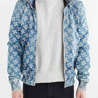 G-Star X Pharrell New Fallden Destroyed Denim Bomber Jacket- Light Blue