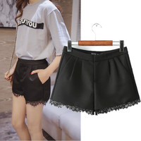 Korean Stylish Lace Mosaic Casual Pants High Rise Shorts [6034606721]