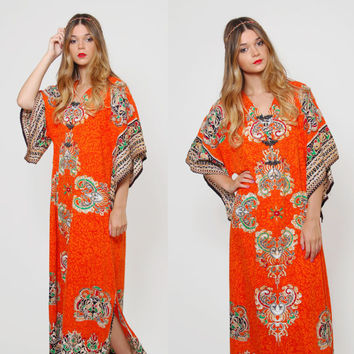 Vintage 70s ETHNIC Caftan ORANGE Cotton Maxi Dress HIPPIE Caftan Long Dashiki Thai Printed Dress