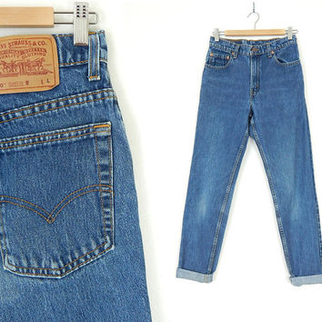 """Vintage 90s Levi's 550 High Waist Women's Jeans - Size 9 Long - Faded Blue Denim Relaxed Fit Tapered Leg Mom Jeans - 28"""" Waist"""