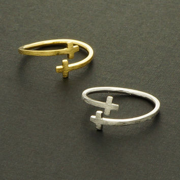 Double Cross Ring / Silver, Gold, Rose Gold / Adjustable Ring / R034