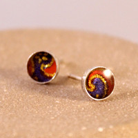 Sterling Silver Origami Paper Stud Earrings with Resin- Red, Navy Blue and Gold- Wave