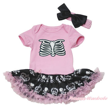 Skeleton Rib Halloween Pink Bodysuit Girls Crown Skull Baby Dress Outfit NB-18M