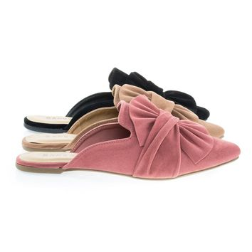 Series04M By Bamboo, Women's Flat Slip On Slipper Backless Loafer w Pointed Toe & Ruffle Bow