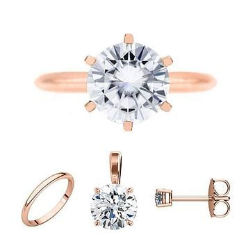 FAB Round Moissanite 6 Prong Ring Complete 14K Rose Gold Solitaire Wedding Set