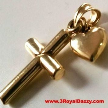 Small Italian Christian Cross & Heart 14k gold layer on 925 Silver Pendant Charm
