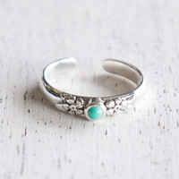 Floral Turquoise Toe Ring