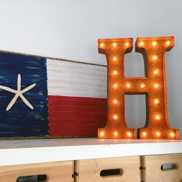"24"" Letter H Lighted Vintage Marquee Letters (Rustic)"