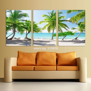 3 Piece Coconut Palm Beach Scenery Printed Canvas Painting Modern Home Decoration Landscape Printed Oil Painting Wall Pictures