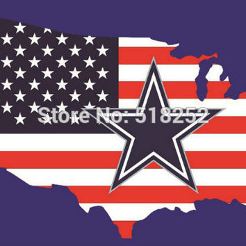 Dallas Cowboys with American map Flag  3x5 FT 150X90CM NFL Banner 100D Polyester Custom flag grommets 6038, free shipping