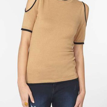 Camel Tipped Cold Shoulder Top - New In
