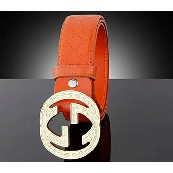 GUCCI 2018 trend men and women classic double G retro belt F-APDPF orange