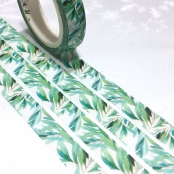 green leaves washi tape 7M green garden leaf Gardening planner Masking tape Green tape green plant diary sticker tape garden scrapbook gift