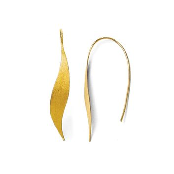 Brushed Ribbon Threader Earrings in Yellow Gold Tone Silver, 50mm