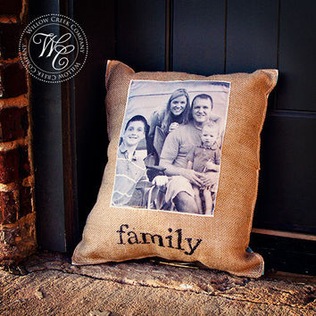 Custom PHOTO PILLOW Cover Personalized Gift Burlap and Chevron Perfect Wedding, Anniversary, Housewarming Gift