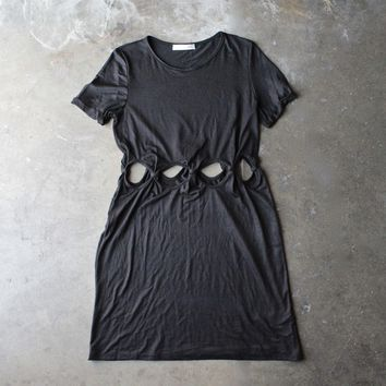 Cutout Short Sleeve Dress   Black