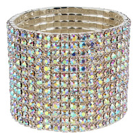 Thirteen Row Rhinestone Stretch Silver Statement Bracelet