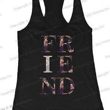 BFF Tank Tops True Friend Floral Print Matching Shirts for Best Friends