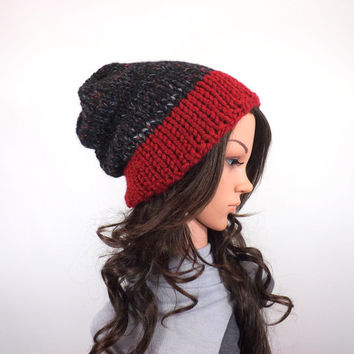 Chunky Slouchy Unisex Color Block Ski Hat Beanie Toque // The Nora // in Blackstone and Cranberry