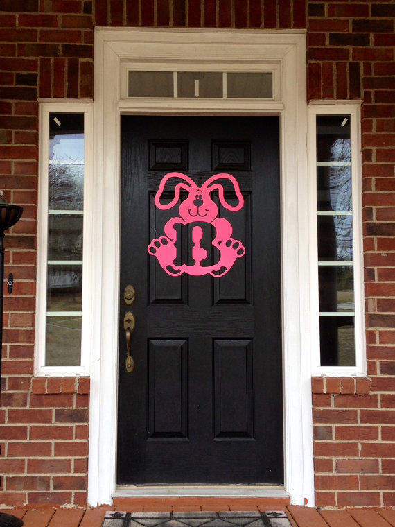 easter bunny metal monogram door hanger  from housesensations on