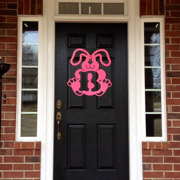 Easter Bunny metal monogram door hanger, monogrammed metal wreath, spring wreath, outdoor wreath, front door