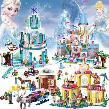 Princess Series Elsa Magical Ice Castle Cinderella Set Educational Building Block Bricks Toy For Kids Compatible With Legoinglys
