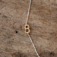 sideways delicate gold initial necklace, gold monogram charm on silver chain custom letter necklace