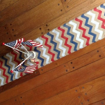 Patriotic Burlap Table Runner Chevron Tablerunner Zig Zag Red White and Blue Memorial Day Table Decor by sweet janes plan