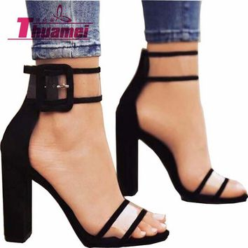 Women Sandals Platform Gladiator High Heels Clear Buckle Strap Spring Summer Sexy Shoes Woman Fashion Black Blue #Y0606739Q
