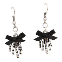 Bow Skeleton Hands Drop Earrings