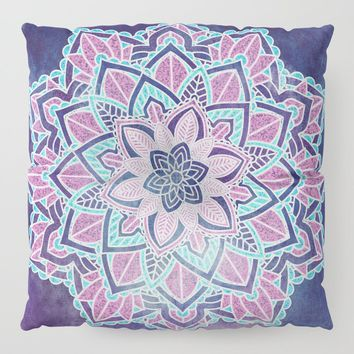 Blueberry Sorbet Mandala Floor Pillow by inspiredimages