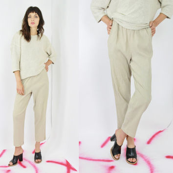 vtg 80s tan fabric pants beige harem pants ribbed textured pleated pants high rise jogger pant casual minimalist boho pants small medium