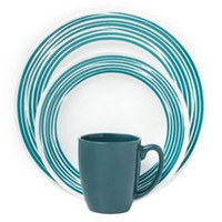 Corelle Boutique Brushed 16-Pc Dinnerware Set, Turquoise